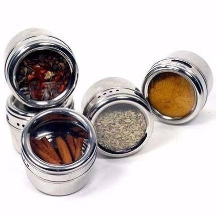 Porta Condimento Tempero Inox Magnético Imã C/ 4 Potes
