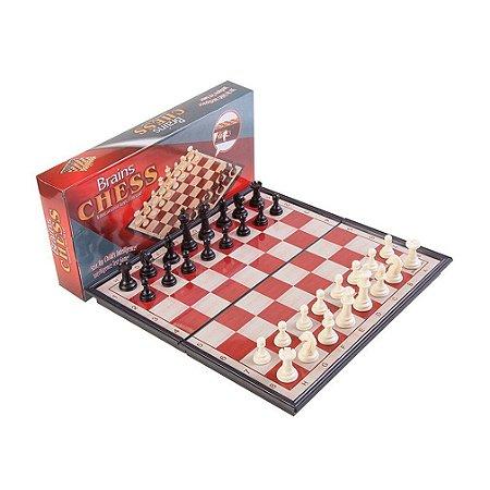 Jogo De Xadrez Magnético Dobrável Peças Plásticas Imã 26X26