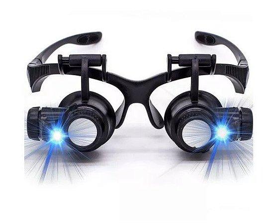 Lupa De Cabeça / Pala Profissional 2leds 4 Lentes Oculos