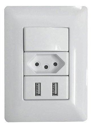 Interruptor Com Tomada Usb De Parede  2.1a 5v  Carregador