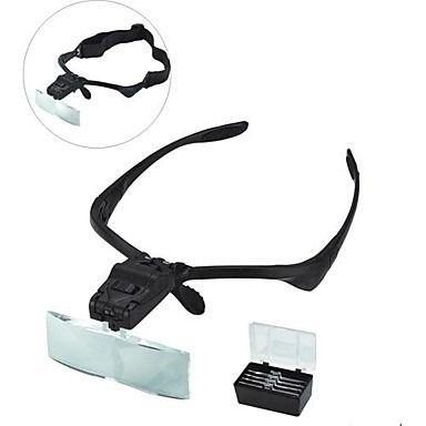 Oculos Lupa De Cabeca Led Profissional + 5 Lentes E Estojo