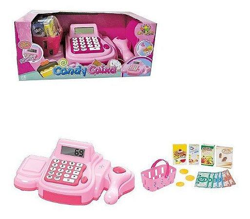 Caixa Registradora Infantil Rosa Com Luz E Som Candy Caixa