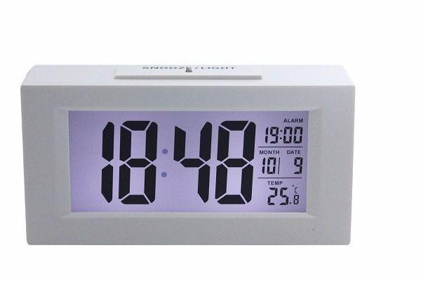 Relógio De Mesa Digital Despertador Sensor Noturno Branco