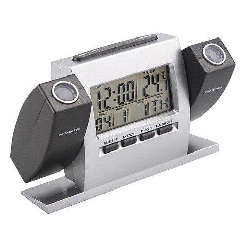 Relógio De Mesa Digital Despertador projetor duplo