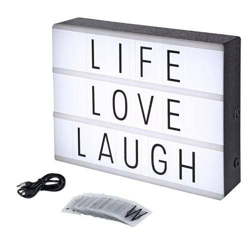 Letreiro Quadro Led Light Box Cinema A4 Com 60 Letras Numero