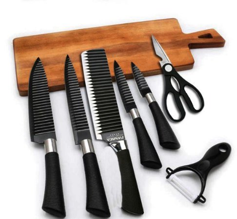 Conjunto de facas com Antiaderência Tesoura e Descascador 6