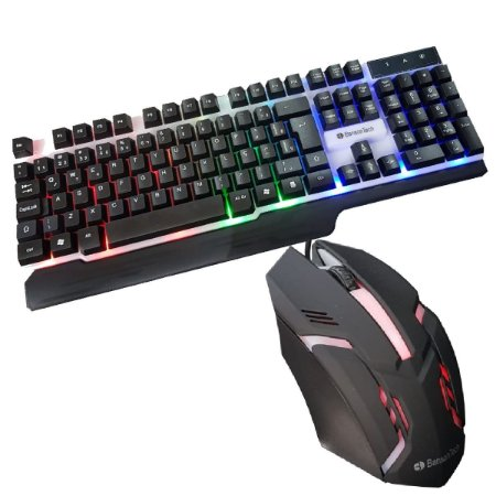 Kit Teclado Semi Mecânico Gamer Mouse Led BS-503+ Mouse pad