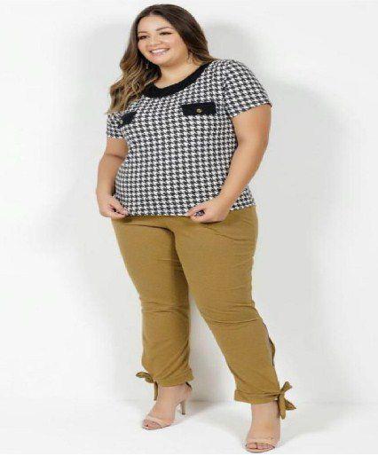 Calça Mescla Amarela Com Amarração Plus Size GG