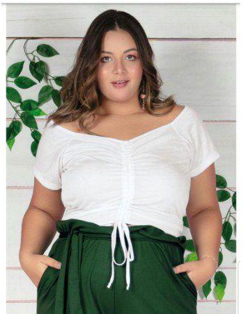 Cropped Branco com Cordão Ajustável Plus Size G