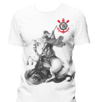 Camiseta Estampada Corinthians São Jorge oração nas Costas