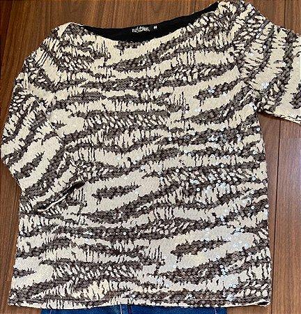 Blusa em Estampa de Tigre com Paetês