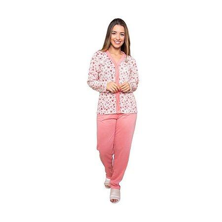 Pijama Longo Feminino de Botões