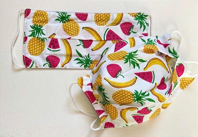Máscara em Malha Estampa de Frutas
