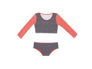 Biquini Cropped Infantil Mangas Rosa