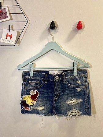 Mini Saia Jeans Bordada Hollister