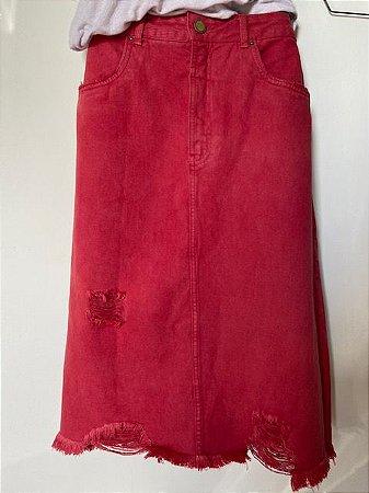 Saia Midi Jeans Vermelha