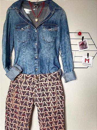Camisa Jeans Mangas Compridas