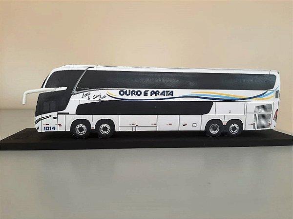 Ônibus DD em Miniatura (papel) - Viação Ouro e Prata
