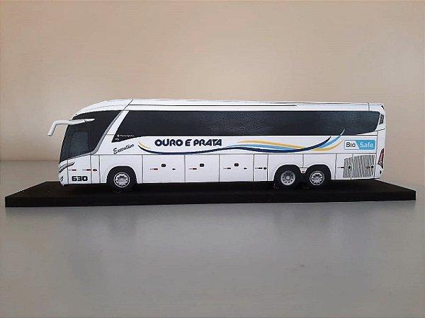 Ônibus Biosafe em Miniatura (papel) - Viação Ouro e Prata
