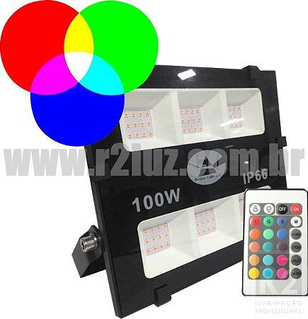 REFLETOR 100W IP66 RGB C/ CONTROLE PRISMA