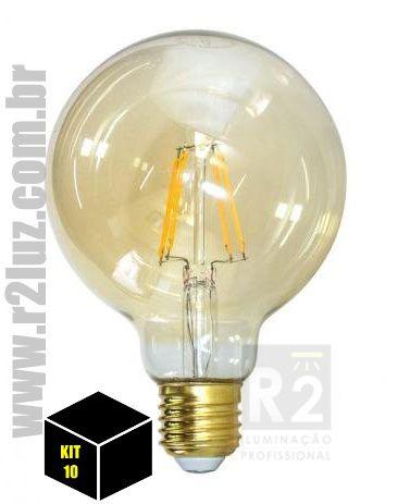 Kit 10 Lampada Filamento Led 8w G95 Ctb