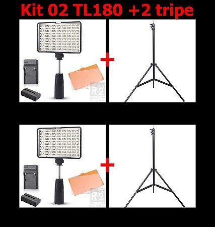 KIT 02 YOUTUBER LED TL180S +02 TRIPÉS 2MTS GREIKA