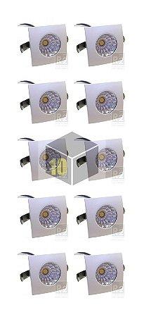 Kit 10 Mini Spot 1w Led Cob 6000K Quadrado Ctb