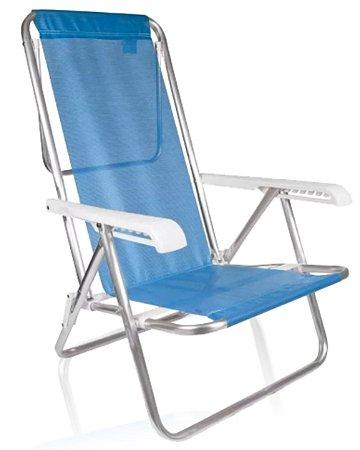 Cadeira De Praia Alumínio Mor Reclinavel 8 Posições Azul Sannet