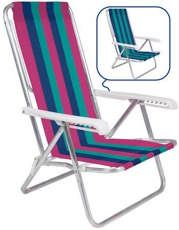 Cadeira De Praia Alumínio Mor Reclinavel 8 Posições Sortida
