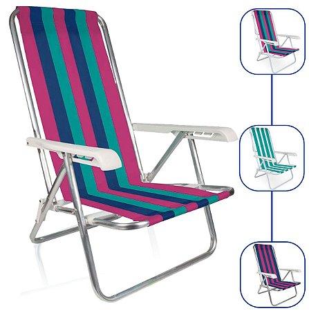 Cadeira De Praia Alumínio Mor Reclinavel 4 Posições Sortida