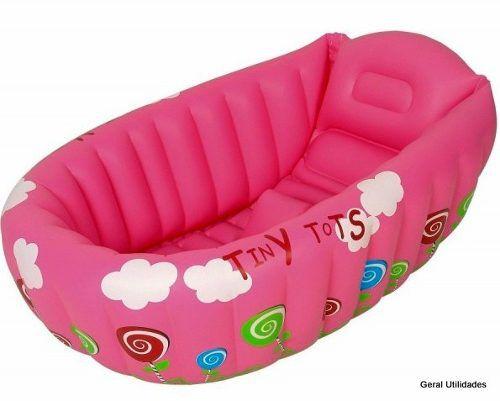 Banheira Bebê Inflável c/Indicador de Temperatura Rosa MOR