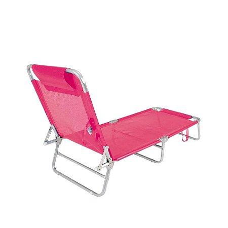 Cadeira Espreguiçadeira Mor Para Piscina e Praia Espreguiçadeira Dobrável Alumínio Mor Rosa