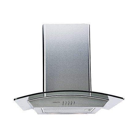 Coifa Parede 60cm Inox e Vidro Iluminação Led 220v