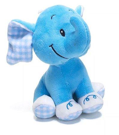 Elefante Pelucia com Chocalho Azul