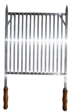 Grelha Alumínio Para Churrasqueira 45X45cm c/Cabos Madeira