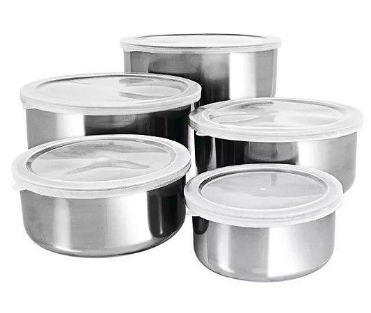 Conjunto De Potes Inox Com Tampa PLástica 5 Peças - HERCULES