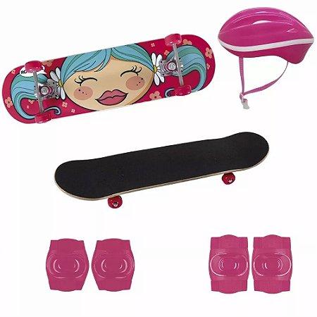 Kit Skate Infantil 79cmX20cm Menina