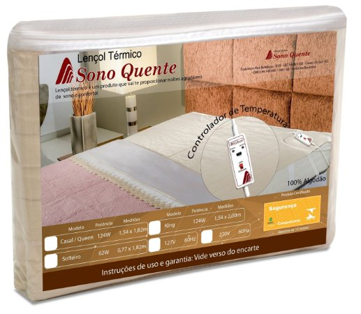 Lençol Térmico Casal King Size 220v Com Controle 2 Temperaturas Sono Quente Inmetro