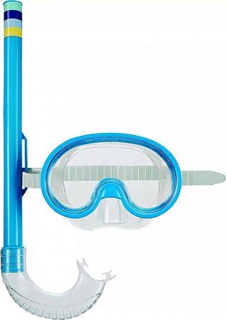 Mascara e Snorkel Mergulho Infantil Azul