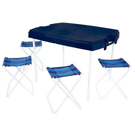 Mesa De Plástico Dobrável De Camping Maleta e Banquetas Mor