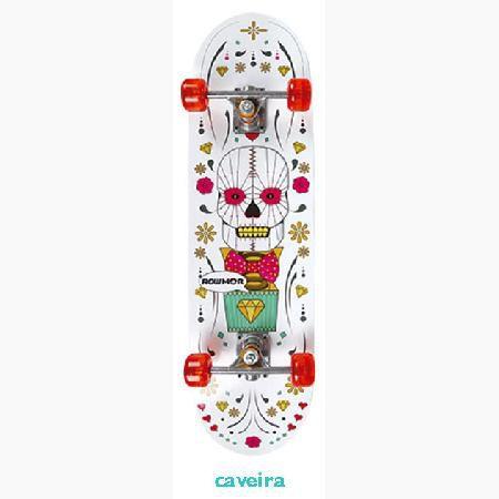 Skate Iniciante MOR Row 79x20cm Caveira Branca
