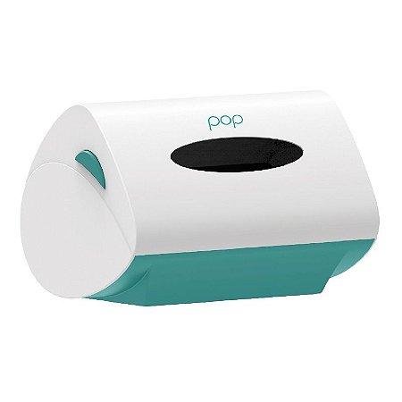 Toalheiro Dispenser Plástico Verde e Branco Paper POP
