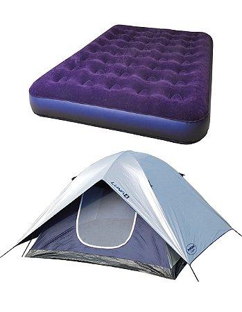 Barraca De Camping 4 Pessoas Com Sobre teto kit com Colchão Inflável de Casal