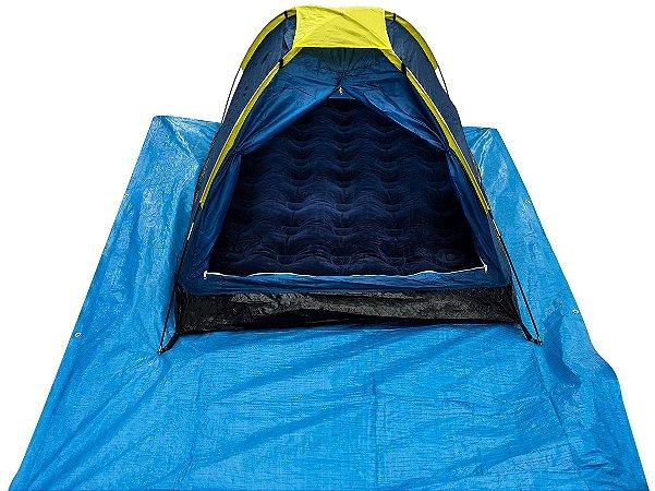 Kit Acampamento: Barraca De Camping 2 Pessoas - Lona Plastica 3x2m - Colchão Inflável Casal