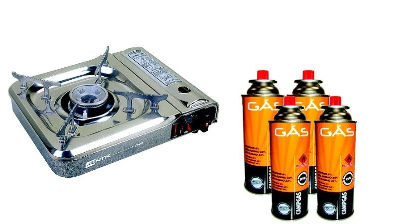 Kit Fogareiro a Gas Cheff + 4 cartuchos Gas Campgas