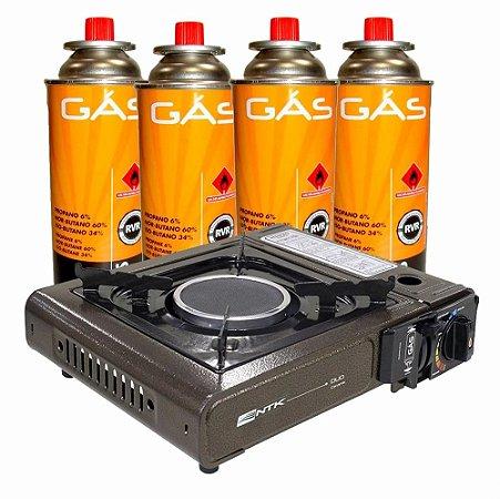 Fogareiro Duo Ceramik + 4 Cartuchos de Gas