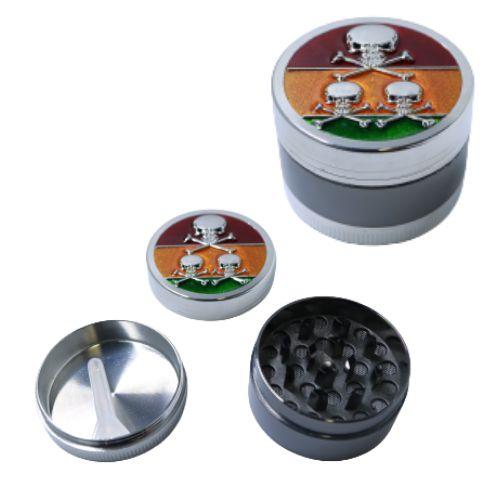 Dichavador Metal Caveira Rasta 3 Partes - Unidade