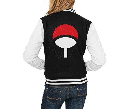 Jaqueta College Naruto Shippuden Agasalho Clã Uchiha Feminina Moletom Moda Geek Nerd Personalizada
