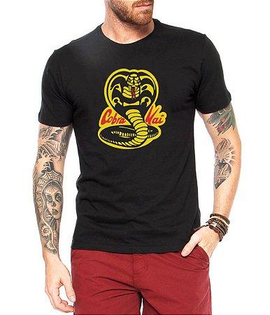 Camiseta Cobra Kai Camisa Masculina Logo Blusa Série Karatê Kid Moda Geek Nerd Personalizada