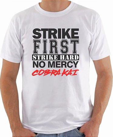 Camiseta Cobra Kai Masculina Camisa Frase No Mercy Personalizada Blusa Série Karatê Kid Moda Geek Nerd